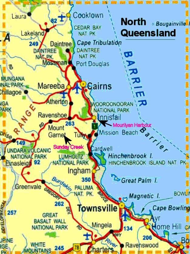 North Queensland Map Sunday Creek Mourilyan Harbour North Queensland Map Australia